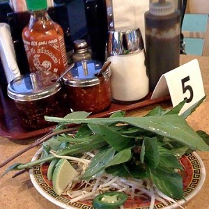 pho garnishes condiments 300x300 Culantro in Pho   An Herb in a League of Its Own